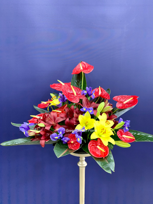 Red and Yellow Basket Arrangement (19-137)