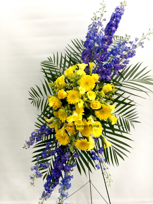 Blue and Yellow Standing Spray (19-118)