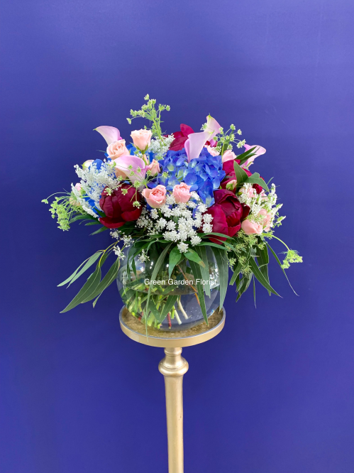 Cool Blue Vase Arrangement (19-121)