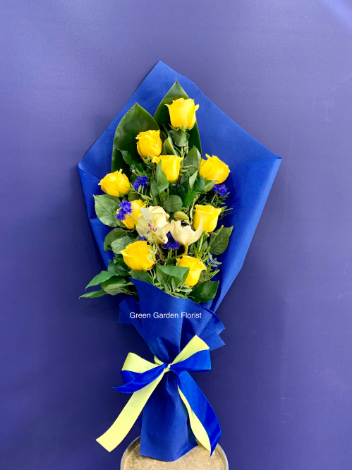 Yellow Rose and Orchid Bouquet (19-105)