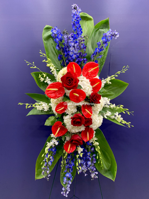 Red, Blue and White Standing Spray (19-135)